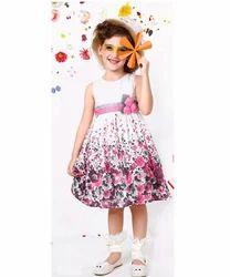 Printed Girls Dress, Size: Medium