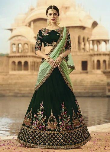 e271a14f13c Velvet Zari Work Green Wedding Wear Lehenga Choli