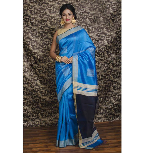 7c8908723f Dupion Tussar Silk Saree in Azure Blue and Navy Blue at Rs 6550 ...