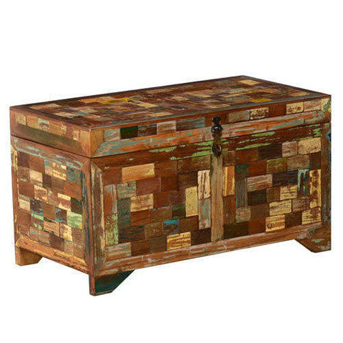 Rustic Coloured Patches Storage Trunk