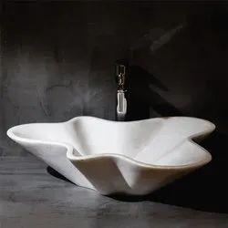 Capstona Amoeba White Marble Wash Basin