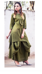 Cotton Dark Green Party Wear Kurti