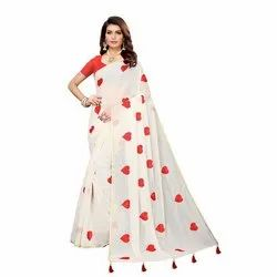 HEART CHANDHERI WITH EMBROIDERED SAREE