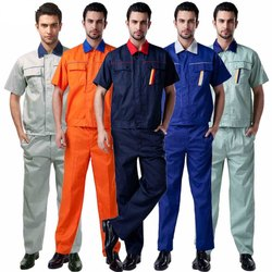 Orange, Blue And White Polyester Industrial Worker Uniform, Size: Large
