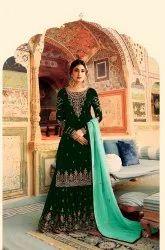 Georgette Anjani Art Subtle Embroidered Art Silk Palazzo Salwar Suit