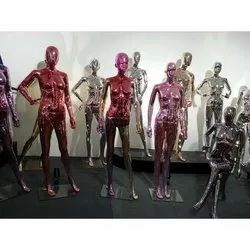 Fiberglass Chrome Metallic Finish Female Mannequins