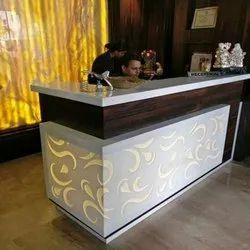 Satyamsale Brown,White Designer Wooden Reception Counter