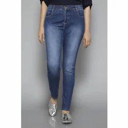 Denim Blue Ladies Slim Fit Jeans, Waist Size: 28 and 32