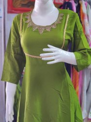 Green Rayon Ladies Kurti