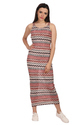 Designer Dress Zig- Zag Brown Maxi