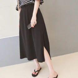 Chiffon Black Han Fan Side Split Elegant Wind Skirt