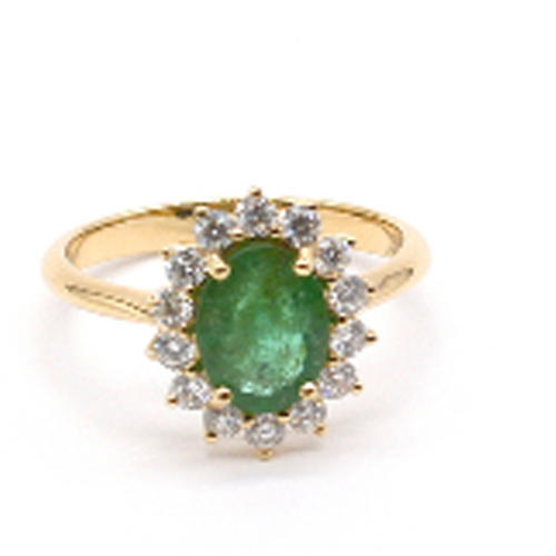 Emerald Ring with Diamond- Cluster Ring- Diamond Ring with Green Emerald -Yellow