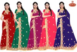 Dyed Georgette Embroidery & Diamond Work Saree with Lace- Reality