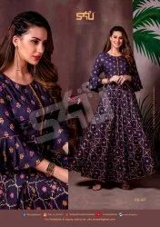 S4u Shivali Fashion Fancy Fabric Designer Long Gown Style Kurti