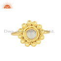 Ethiopian Opal Gemstone Round Yellow Gold Plated Silver Stackable Ring