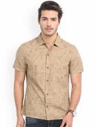 Beige Half Sleeve Shirts For Men