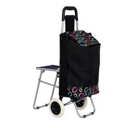 Vegetable And Fruit Folding Trolley Bag With Chair (Black, TRLYBGVDCHR10750)
