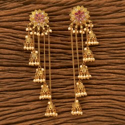 Antique Long Earring with Gold Plating 200578