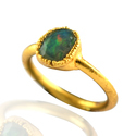Fire Opal Green Gemstone Rings
