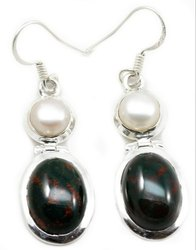 Pearl With Black Onyx Sterling Silver India Earrings