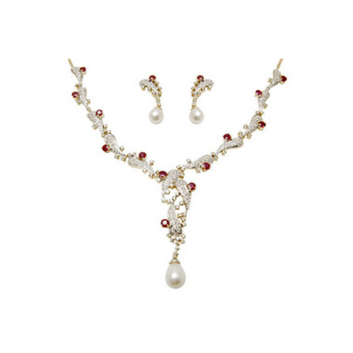 Cream Pearl Necklace Earring Set e77980003e