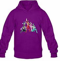 Cotton Collar Purple Designed Hoodie, Size: Large