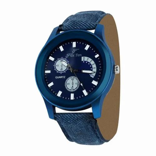 Leather FoxTen Chronograph Blue Dial Mens Watch