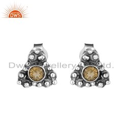 Handmade Oxidized Sterling Silver Citrine Gemstone Stud Earrings