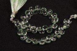 Natural Green Amethyst Faceted Side Drilled Heart Shape Beads