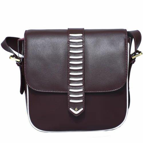 Men Office Brown Leather Side Bag ed9ba9b25125d