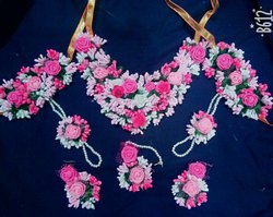 Artificial pink flowers jewellery