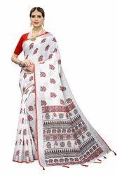 Linen Saree With Animal Print And Jhalar