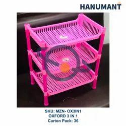 Plastic Pink Kitchen Storage Rack - Oxford 3 In 1, Size: Regular