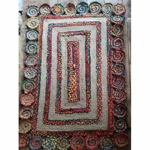 Braided Designer Rectangular Jute Rug, For Home
