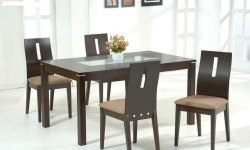 Aditya Furniture Brown Teak Wood Dining Table Set With Glass Top, For Home
