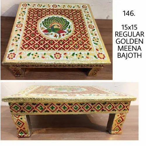 Wooden Golden Meenakari Handicraft Marriage Engagement Religious Work Bajoth/Chowki