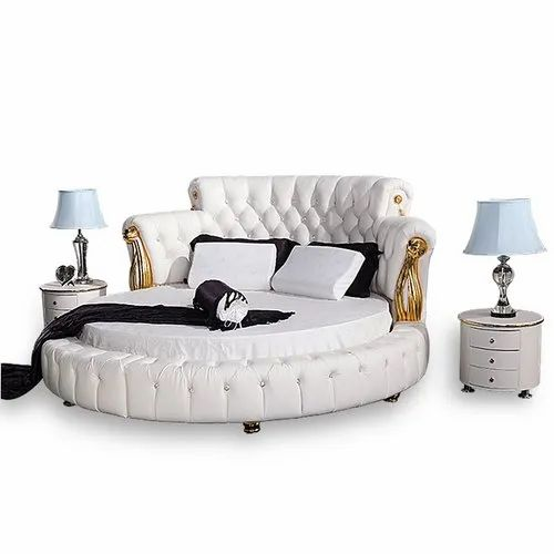 Oak Wood Round Bed For Home Size, Round Queen Size Bed