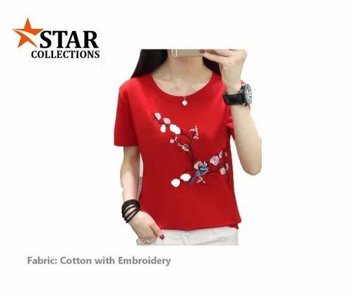 Ladies Red Round Neck Embroidered Cotton T-Shirt