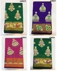 Party Wear Border Cheap Varanasi Art Silk Saree By Shivam Arts, With blouse piece