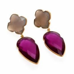 Pink Tourmaline Hydro  and Gray Chalcedony Gemstone Earring