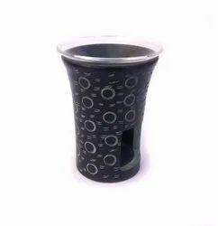 Black Soapstone Stone Aroma Oil Burner Tea Light Holder with circular hand carving