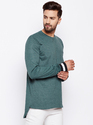 Men Full Sleeve Round Neck Solid Green T-Shirt