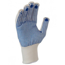 Cotton Knitted PVC Dotted Safety Gloves