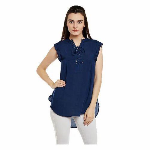 7f3bc412621240 IRALZO Women Blue Viscose V-Neck Top