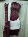 White Kusum Kutchi Bandhani 3pc Suit Maroon