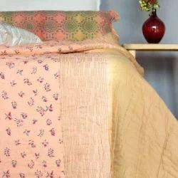 Orange Ombre Block Print  Jaipuri Quilt