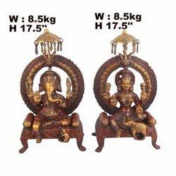Brass Ganesh And Lakshmi Statue