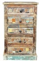 Indian Reclaimed Wood Chest Of 5 Drawers Tallboy