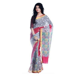 Casual Wear Printed Kerala Cotton Saree, With Blouse
