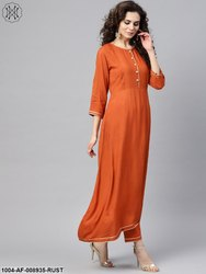 Nayo Rust Orange A-Line Kurta Set